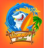 Funny Surfing Shark illustration