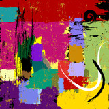 abstract background, composition with paint strokes and splashes, grungy