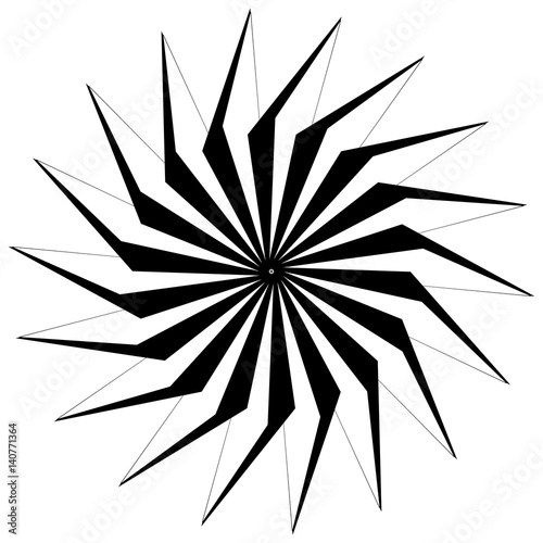 Abstract circular geometric element with radial lines. Distorted radiating abstract shape. Monochrome decorative element - 140771364