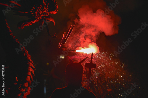 Barcelona: Correfoc, typical catalan celebration in which dragons and devils armed with fireworks dance through the streets