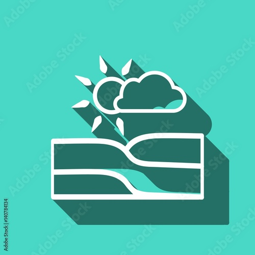Aluminium Groene koraal landscape icon stock vector illustration flat design
