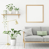 Square poster mock up with wooden frame, sofa and green plants on white wall background. 3d rendering. - 140786182