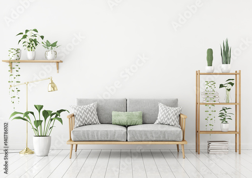 Miastowy dżungla stylu livingroom z popielatą kanapą, złotą lampą i roślinami w garnkach na biel ściany tle ,. 3d rendering.