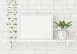 Horizontal frame poster mock up with green plants on white brick wall background. 3d rendering.