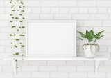 Horizontal frame poster mock up with green plants on white brick wall background. 3d rendering. - 140787566