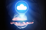 Concept of cloud storage icon flying out a smartphone - technology concept