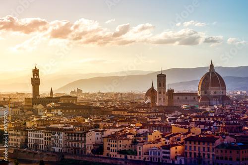Deurstickers Florence Blick über Florenz vom Michel Angelo Platz