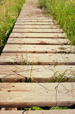 passerelle en bois traversant une prairie