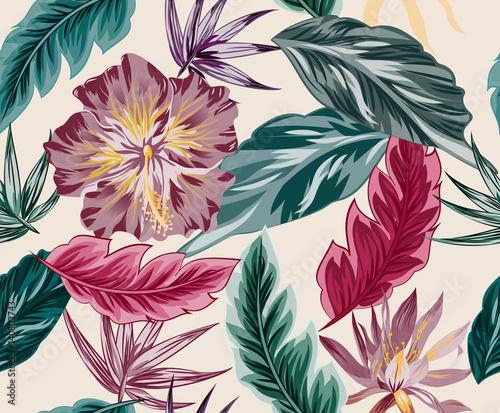 Tropical flowers, jungle leaves, bird of paradise flower. - 140802743