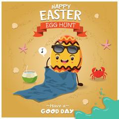 Vintage Easter poster beach design with Easter egg