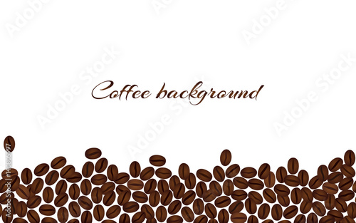 Fotobehang Koffiebonen Coffee beans isolated on a white background. Horizontal vector border