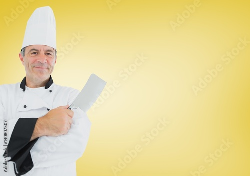 Composite image of Chef with knife against yellow background