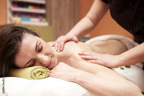 body massage in spa salon