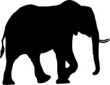 Silhouette of a desert elephant - digitally hand drawn vector illustration