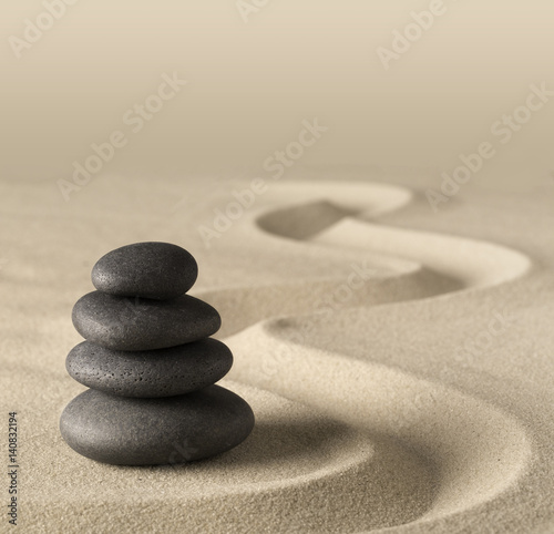 Foto op Canvas Zen spa wellness treatment, concept of Japanese zen garden stones and tao buddhism Balance harmony relaxation meditation background Stone stack in sand pattern spiritual elements...