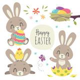 vector cartoon style easter bunny set