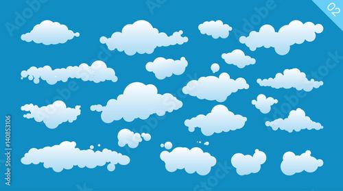Fototapeta Set of cartoon clouds on a blue background