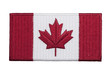 An embroidered Canadian flag patch isolated on a white background.