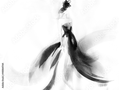 Woman style. Runway elegant dress. Fashion illustration. Watercolor painting