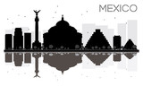 Fototapety Mexico City skyline black and white silhouette with reflections.