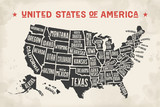Fototapety Poster map of United States of America with state names. Black and white print map of USA for t-shirt, poster or geographic themes. Hand-drawn black map with states. Vector Illustration