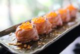Salmon sushi ball with salmon caviar