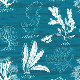 Underwater world. Seamless vector pattern with algae and fishes. - 140878741
