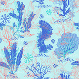 Seamless pattern with underwater plants. Bright sea vector illustration. - 140878795