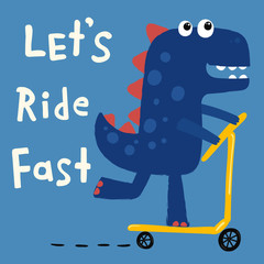 funny cartoon dinosaur skater, illustration, vector