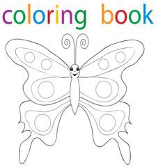 Vector, book coloring cartoon butterfly beautiful