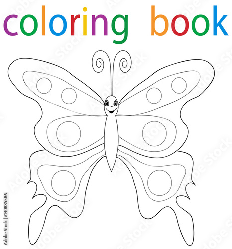 Vector, book coloring cartoon butterfly beautiful
