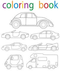 Vector, book coloring car collection
