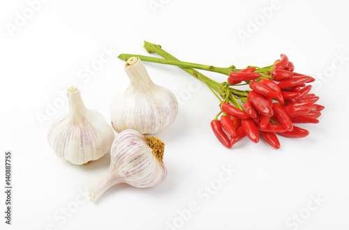 Red chili peppers and garlic