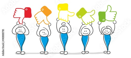 Stick Figure Series Blue / Social Media Daumen Bewertung