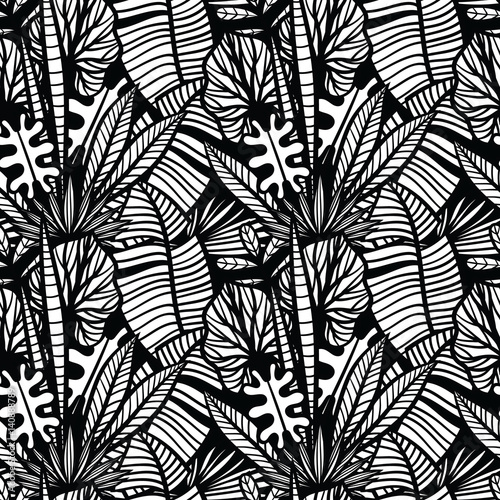 Tapeta ścienna na wymiar Black and white tropical pattern with exotic plants. Seamless vector tropical pattern with leaves.