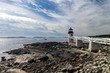 Marshall Point Light as seen from the rocky coast of Port Clyde, Maine.