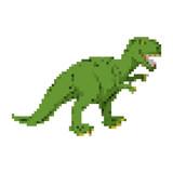 Dinosaur pixel art. Tyrannosaurus pixelated. Dino retro games. 8 bit Prehistoric Pangolin Monster Reptile