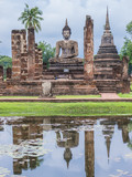Ruin ancient Buddhist temple, Wat Mahathat Sukhothai, landmark in Thailand