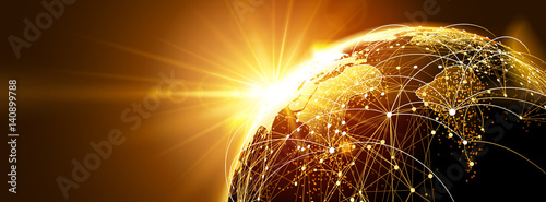 Global network with sunrise - 140899788