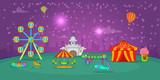 Circus horizontal banner starry sky, cartoon style