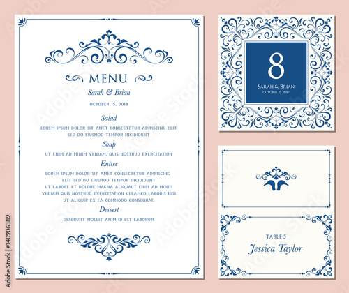 Ornate classic templates set in vintage style. Wedding menu, table number and name place card design. Vector illustration.