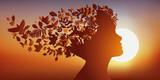 Cheveux - Nature - Visage, Profil - Rêve - Imagination - Coucher de soleil - 140906702