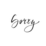 Sorry postcard. Modern brush calligraphy isolated on white background.
