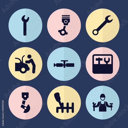 Set of 9 mechanic filled icons