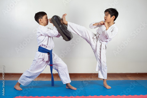 Two boys demonstrate martial arts working together Poster