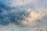 Rain water drops on glass background - 140916133