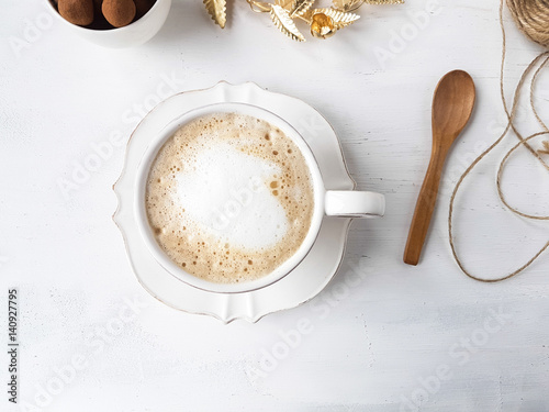 Foto op Canvas Koffie A cup of latte coffee