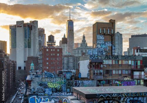 Foto op Aluminium New York Graffiti Covered Rooftops of Chinatown New York City, NYC