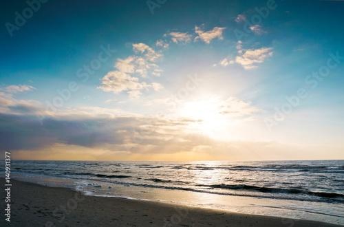 Deurstickers Noordzee Urlaub am Meer/ Abendstimmung in St. Peter Ording an der Nordsee