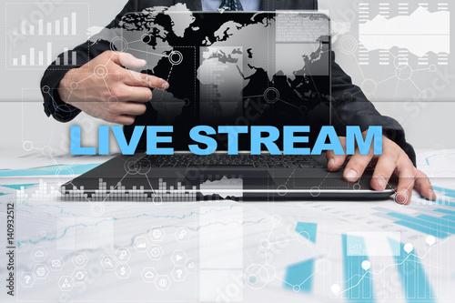 Businessman presenting live stream concept. Poster